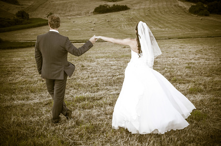 newlyweds: Newlyweds - wedding photo Stock Photo