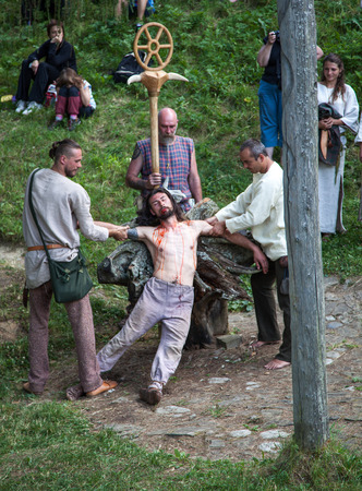 sacrifices: HAVRANOK, SLOVAKIA - JULY 7: Celtic ritual murder at open air museum Havranok on July 7, 2015 in Havranok