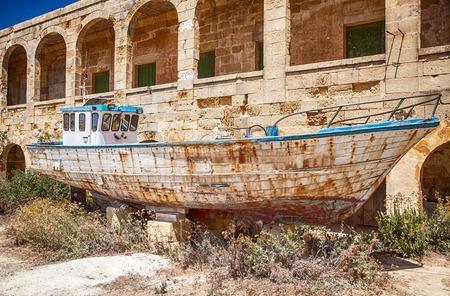 wrecked: Wrecked ship at island Comino, Malta