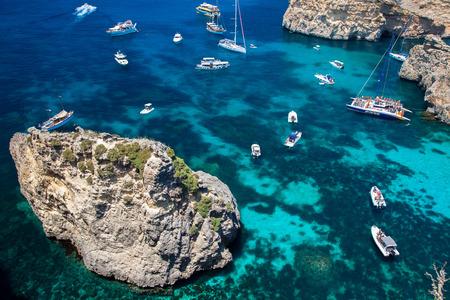 Luxury yachts at blue lagoon - Comino, Malta