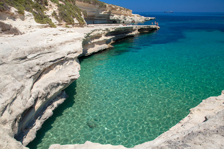 peter's: St. Peters pool - rocky beach at Malta