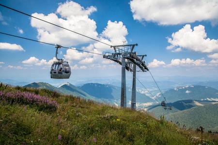 mala fatra: VRATNA, SLOVAKIA - AUGUST 7: Cableway at mountain range Mala Fatra on August 7, 2015 in Vratna Editorial