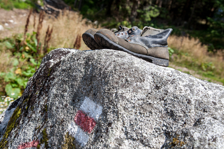 hiking shoes: Old hiking shoes Stock Photo