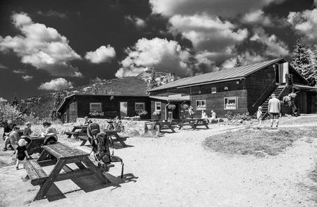 mala fatra: VRATNA, SLOVAKIA - AUGUST 7: Cottage CHata Pod Chlebom at mountain range Mala Fatra on August 7, 2015 in Vratna Stock Photo
