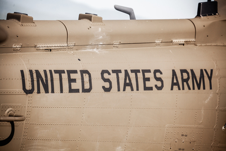 blackhawk helicopter: SLIAC, SLOVAKIA - AUGUST 29: Text on helicopter UH-60 Blackhawk at International air fest SIAF 2015 at airport Sliac on August 29, 2015 in Sliac
