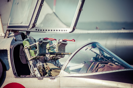 SLIAC, SLOVAKIA - AUGUST 29: Ejector seat in airplane at International air fest SIAF 2015 at airport Sliac on August 29, 2015 in Sliac