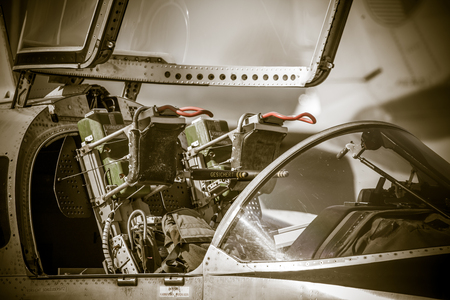 ejector: SLIAC, SLOVAKIA - AUGUST 29: Ejector seat in airplane at International air fest SIAF 2015 at airport Sliac on August 29, 2015 in Sliac