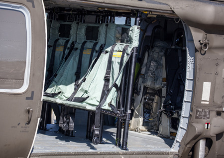 blackhawk helicopter: SLIAC, SLOVAKIA - AUGUST 29: Interior of helicopter UH-60 Blackhawk at International air fest SIAF 2015 at airport Sliac on August 29, 2015 in Sliac