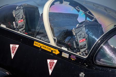 ejector: SLIAC, SLOVAKIA - AUGUST 29: Cockpit of airplane at International air fest SIAF 2015 at airport Sliac on August 29, 2015 in Sliac