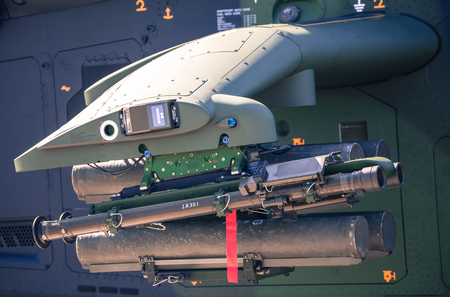 armament: SLIAC, SLOVAKIA - AUGUST 29: Armament at helicopter Tiger at International air fest SIAF 2015 at airport Sliac on August 29, 2015 in Sliac Editorial