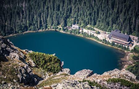 tatras tatry: Tarn Popradske pleso in High Tatras mountains from peak Ostrva, Slovakia
