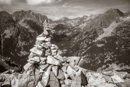 Stacked stones in High Tatras mountains, Slovakia Stock Photo