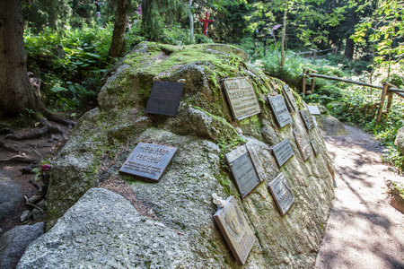 symbolic: HIGH TATRAS, SLOVAKIA - AUGUST 27: Symbolic cemetery in High Tatras mountains on August 29, 2015 in High Tatras Editorial
