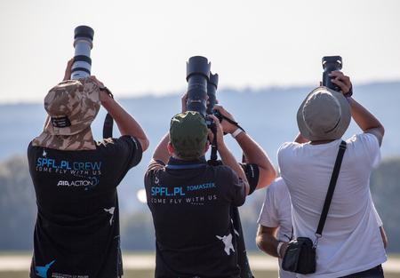 profesional: SLIAC, SLOVAKIA - AUGUST 29: Profesional photographers at International air fest SIAF 2015 at airport Sliac on August 29, 2015 in Sliac