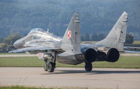 fulcrum: SLIAC, SLOVAKIA - AUGUST 29: Mig-29 Fulcrum at International air fest SIAF 2015 at airport Sliac on August 29, 2015 in Sliac