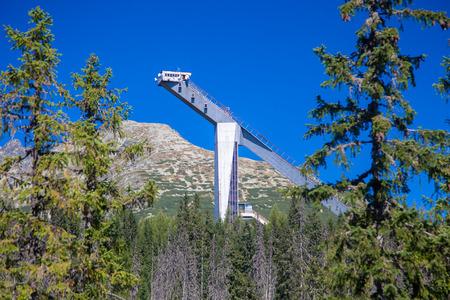 ski jump: Ski jump tower Stock Photo