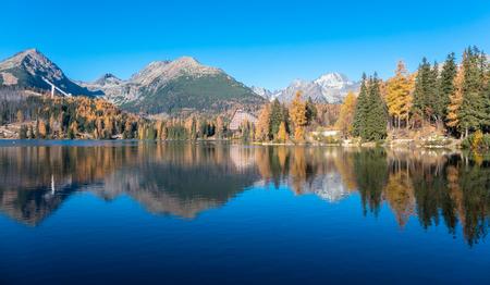 Water reflection at tarn Strbske pleso in High Tatras, Slovakia Stock Photo