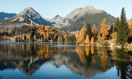tarn: Water reflection on tarn Strbske pleso, Slovakia