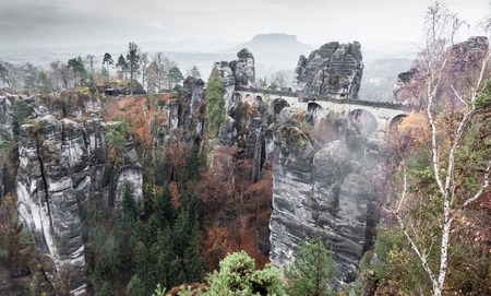saxon: Bastei at Saxon Switzerland national park, Germany