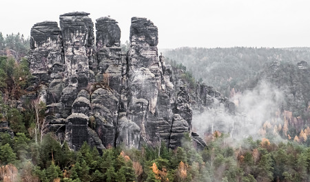 saxon: Rock formation Bastei at Saxon Switzerland, Germany