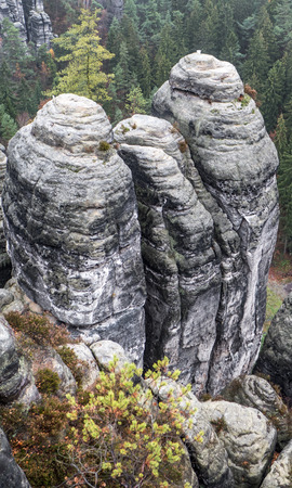saxon: Rock formation at Saxon Switzerland in Germany Stock Photo