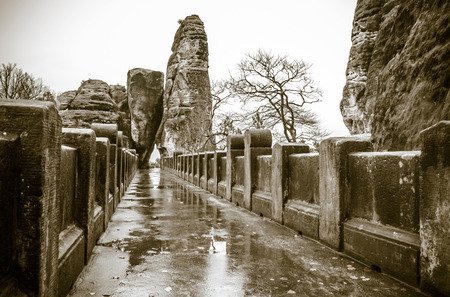 saxon: Bastei bridge in Saxon Switzerland at Germany