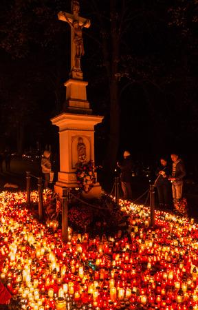 ruzomberok: RUZOMBEROK, SLOVAKIA - NOVEMBER 2: A lot of candles during Souls day at cemetary on November 2, 2015 in Ruzomberok