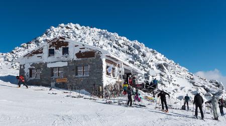JASNA, SLOVAKIA - JANUARY 22: Cottage Kamenna Chata on hill Chopok in Low Tatras mountains on January 22, 2016 in Jasna Editorial