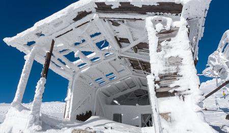ropeway: Old snowy ropeway in resort Jasna, Slovakia