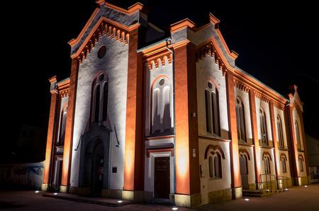 ruzomberok: Jewish synagogue at night - Ruzomberok, Slovakia