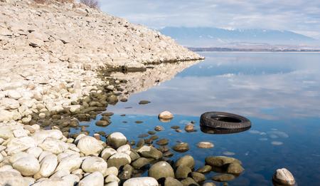 the mara: Tire in reservoir Liptovska Mara, Slovakia