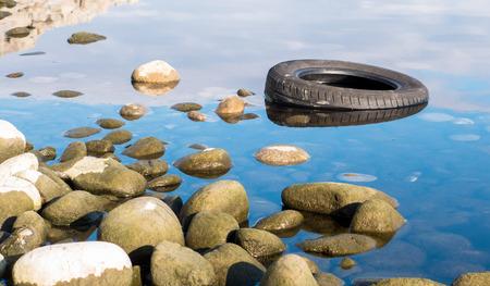 the mara: Tire in lake Liptovska Mara, Slovakia