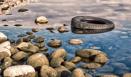 slovakia: Tire in lake Liptovska Mara, Slovakia