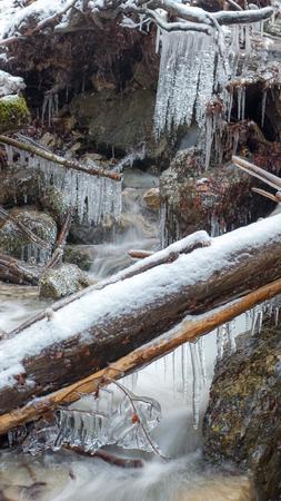 frozen river: Frozen river at Janosikove diery, Slovakia