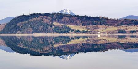choc: Reflection on water reservoir Liptovska Mara, Slovakia
