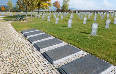 the nazis: VAZEC, SLOVAKIA - OCTOBER 30: Military cemetery from World war two on October 30, 2015 in Vazec