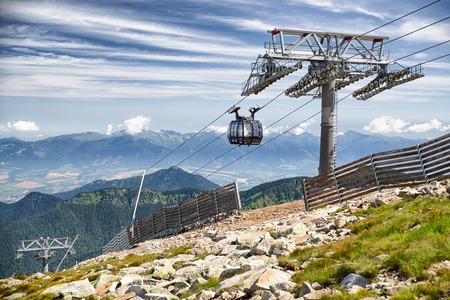 ropeway: CHOPOK, SLOVAKIA - JUN 20: Ropeway Funitel in Low Tatras mountains on Jun 2, 2016 in Chopok