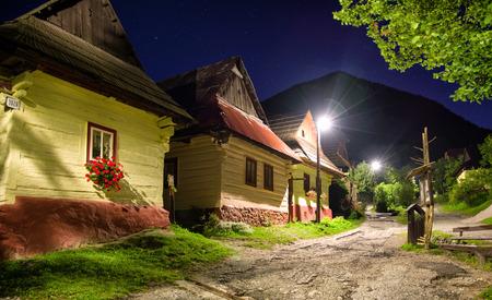 ruzomberok: VLKOLINEC, SLOVAKIA - AUGUST 11: Historical cottages in villgae Vlkolinec at night on August 11, 2016 in Vlkolinec