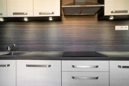 Modern kitchen unit in flat
