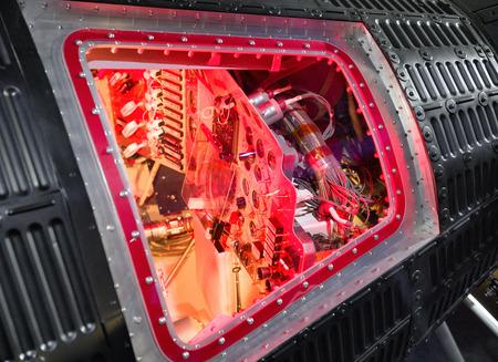 old mercury: Cabin interior of old spaceship Mercury