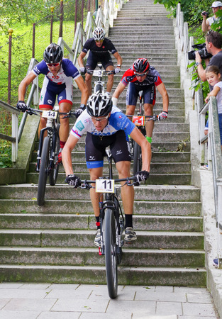 ruzomberok: RUZOMBEROK, SLOVAKIA - SEPTEMBER 4: Mountain bike race - down stairs called Ruzomberske Schody on September 4, 2016 in Ruzomberok