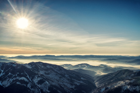 inversion: Inversion in mountains and colorful sky in Low Tatras, Slovakia