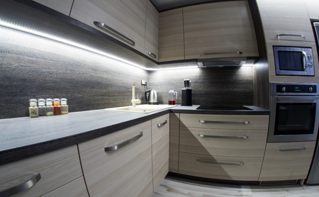 lens unit: Led backlight in small kitchen with modern furniture