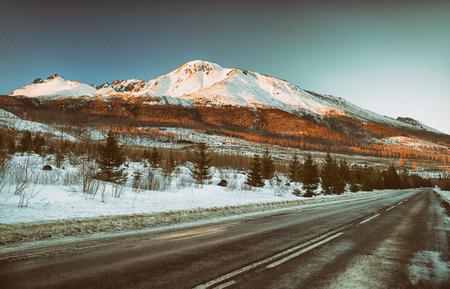 asp: Empty asphalt road in High Tatras mountains, Slovakia