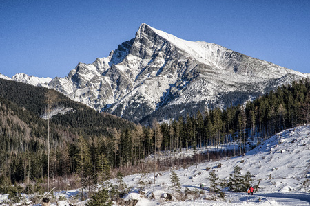 Snowy peak Krivan in High Tatras mountains, Slovakia Stock Photo