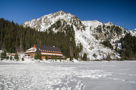 Mountain hotel Popradske pleso in High Tatras mountains at Slovakia Stock Photo