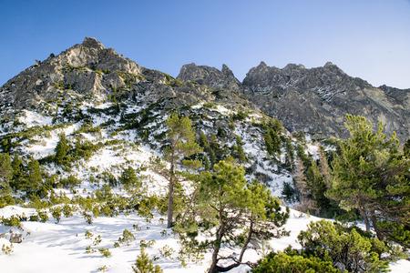 mountainscape: Snowy peak in winter High Tatras mountains at Slovakia Stock Photo