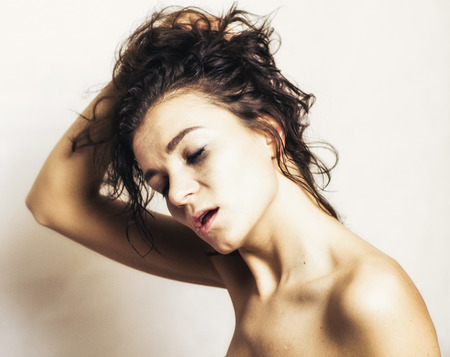Pretty face girl with open mouth - woman orgasm