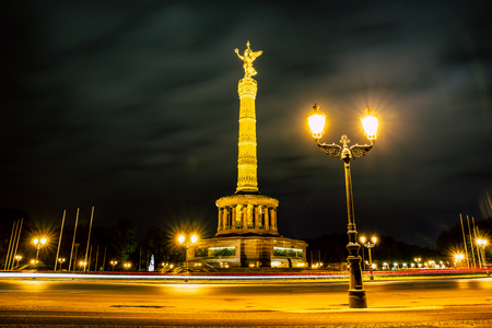 lighted: Berlin victory column at night, Germany Editorial