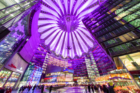 lighted: BERLIN, GERMANY - APRIL 6: Sony centre at night in Potsdamer platz  in Berlin on April 6, 2017 in Berlin Editorial